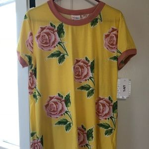 Lularoe Yellow Rose Liv Shirt Large